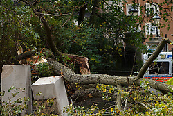 © Licensed to London News Pictures. 21/10/2014. LONDON, UK. A woman has been killed by a tree and wall which were blown down by high winds opposite Knightsbridge Barracks in west London. Photo credit : Tolga Akmen/LNP