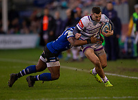 Leicester Tigers Jonny May is tackled by Bath Rugby's Semesa Rokoduguni<br /> <br /> Photographer Bob Bradford/CameraSport<br /> <br /> Gallagher Premiership Round 11 - Bath Rugby v Leicester Tigers - Sunday 30th December 2018 - The Recreation Ground - Bath<br /> <br /> World Copyright © 2018 CameraSport. All rights reserved. 43 Linden Ave. Countesthorpe. Leicester. England. LE8 5PG - Tel: +44 (0) 116 277 4147 - admin@camerasport.com - www.camerasport.com