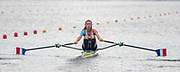 Poznan, POLAND, 21.06.19,  Friday,  USA. FRA LW1X.,  Marion COLARD, at the start of her heat, FISA World Rowing Cup II, Malta Lake Course, © Peter SPURRIER/Intersport Images, <br /> <br /> 09:38:09