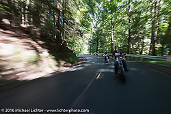 Thomas Trapp of Harley-Factory Frankfurt Germany riding his 1914 Harley-Davidson with his son Eric close behind during the Motorcycle Cannonball Race of the Century. Stage-3 from Morgantown, WV to Chillicothe, OH. USA. Monday September 12, 2016. Photography ©2016 Michael Lichter.