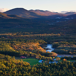 The Saco River and the Mount Washington Valley as seen from Cathedral Ledge in Echo Lake State Park, North Conway, New Hampshire.