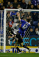 Photo: Steve Bond.<br /> Leicester City v Cardiff City. Coca Cola Championship. 26/11/2007. Keeper Kasper Schmeichel takes a cross under pressure from Matty Fryatt (12)