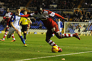Middlesbrough's Albert Adomah crosses the ball to the goal area during the Skybet football league championship match, Birmingham city v Middlesbrough at St.Andrew's in Birmingham, England on Sat 7th Dec 2013. pic by Jeff Thomas/Andrew Orchard sports photography.