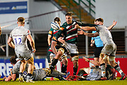 Sale Sharks flanker Sam Dugdale  knocks the ball loose from Leicester Tigers flanker Hanro Liebenberg during a Gallagher Premiership Round 7 Rugby Union match, Friday, Jan. 29, 2021, in Leicester, United Kingdom. (Steve Flynn/Image of Sport)
