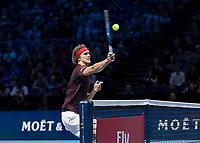 Tennis - 2017 Nitto ATP Finals at The O2 - Day One<br /> <br /> Group Boris Becker Singles: Alexander Zverev (Germany) Vs Marin Cilic (Croatia)<br /> <br /> Alexander Zverev (Germany) drives home the match point at the O2 Arena<br /> <br /> COLORSPORT/DANIEL BEARHAM