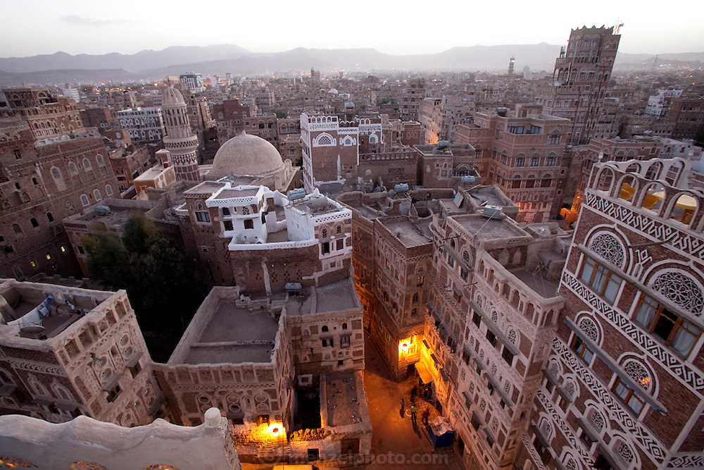 The view from the roof of a 8 story hotel in old Sanaa, the capital city of Yemen. Sanaa is one of the oldest continuously inhabited cities in the world.