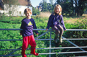 AREMKE Non identical boy girl twins sitting on field gate in Suffolk countryside