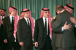 L-R : sons of King Hussein, Hashem, Hamza, Ali, Faisal seen at a ceremony to congratulate the New King Abdallah (or Abdullah) at the Parliament, in Amman, Jordan on February 7, 1999. Twenty years ago, end of January and early February 1999, the Kingdom of Jordan witnessed a change of power as the late King Hussein came back from the United States of America to change his Crown Prince, only two weeks before he passed away. Photo by Balkis Press/ABACAPRESS.COM