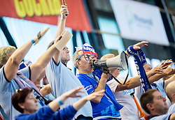 Supporters of Slovenia during handball game between Women National Teams of Slovenia and Switzerland in 2014 Women's European Championship Qualification, on March 30, 2014 in Arena Kodeljevo, Ljubljana, Slovenia. Photo by Vid Ponikvar / Sportida