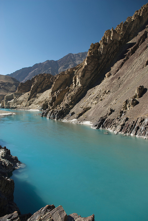 Often raging with glacial melt the Zanskar River becomes calm and tranquil in the Fall.  By winter is will be frozen and is the major route from Ladakh to the Zanskar Valley.  A road is being blasted along the route and should be completed in just a few years.