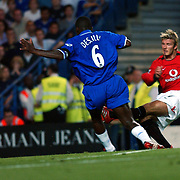 Manchester United's David Beckham cuts inside Chelsea's Marcel Desailly to score their equalising goal