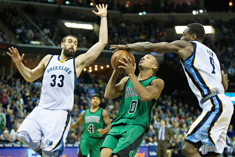 MEMPHIS, TN - JANUARY 10:  Avery Bradley #0 of the Boston Celtics has the ball knocked away by Tony Allen #9 of the Memphis Grizzles at the FedExForum on January 10, 2016 in Memphis, Tennessee.  The Grizzlies defeated the Celtics 101-98.  NOTE TO USER: User expressly acknowledges and agrees that, by downloading and or using this photograph, User is consenting to the terms and conditions of the Getty Images License Agreement.  (Photo by Wesley Hitt/Getty Images) *** Local Caption *** Avery Bradley; Tony Allen