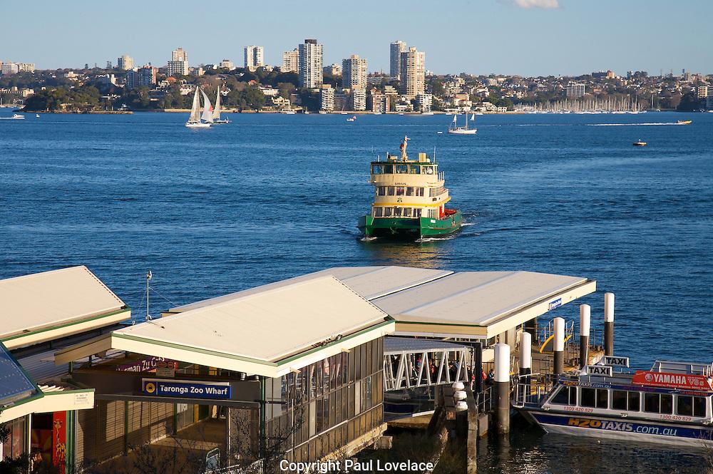 Ferry arrives at Toronga Zoo, Sydney.