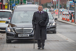 © Licensed to London News Pictures . 20/09/2014 . Manchester , UK . The cortege arrives . Arrivals at the funeral of Heywood and Middleton MP Jim Dobbin at Salford Cathedral today (Saturday 20th September 2014) . Photo credit : Joel Goodman/LNP