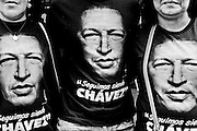 "Supporters of the government wear tshirts af their leader Hugo Chavez, the one they call after his death ""SUPREME LEADER OF THE BOLIVARIAN REVOLUTION""."