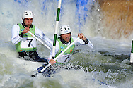Great Britain's David Florence and Richard Hounslow competing in the  C2 (Canoe double) classl.  ICF Canoe slalom world cup at the Cardiff white water centre in Cardiff, South Wales on Sat 9th June 2012.  pic by Andrew Orchard, Andrew Orchard sports photography,