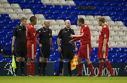 LONDON, ENGLAND - Wednesday, February 1, 2012: Liverpool's Adam Morgan argues with the referee after the 1-0 defeat to Tottenham Hotspur during the NextGen Series Quarter-Final match at White Hart Lane. (Pic by David Rawcliffe/Propaganda)