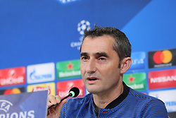 November 21, 2017 - Turin, Piedmont, Italy - Ernesto Valverde, head coach of FC Barcelona, during the FC Barcelona press conference on the eve of the UEFA Champions League (Group D) match between Juventus FC and FC Barcelona at Allianz Stadium on 21 November, 2017 in Turin, Italy. (Credit Image: © Massimiliano Ferraro/NurPhoto via ZUMA Press)