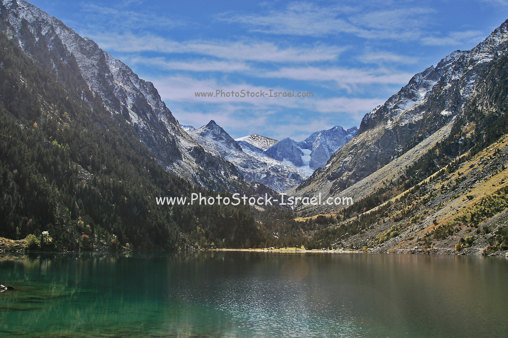Spain, The Pyrenees Mountains a tranquil mountain lake