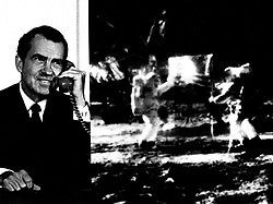 """Washington, DC, USA - Composite photo of President Richard M. Nixon as he telephoned """"Tranquility Base"""" and astronauts Neil Armstrong and Edwin """"Buzz"""" Aldrin on Sunday, July 20, 1969. The President: """"... For one priceless moment in the history of man, all of the people on this Earth are truly one, one in their pride in what you have done and one in our prayers that you will return safely to Earth."""" Astronaut Armstrong: """"...Thank You, Mr. President. It is a great honor and privilege for us to be here representing not only the United States, but men of peaceable nations, men with an intrest and curiosity, and men with a vision for the future. It is an honor for us to be able to participate here today."""" Handout Photo by NASA via CNP/ABACAPRESS.COM"""