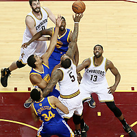 10 June 2016: Cleveland Cavaliers forward Kevin Love (0), Golden State Warriors forward Harrison Barnes (40), Cleveland Cavaliers guard J.R. Smith (5), Golden State Warriors forward James Michael McAdoo (20), Cleveland Cavaliers center Tristan Thompson (13) and Golden State Warriors guard Shaun Livingston (34) vie for the rebound during the Golden State Warriors 108-97 victory over the Cleveland Cavaliers, during Game Four of the 2016 NBA Finals at the Quicken Loans Arena, Cleveland, Ohio, USA.