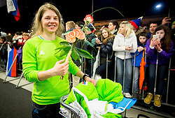 Alenka Cebasek at reception of Slovenia team arrived from Winter Olympic Games Sochi 2014 on February 19, 2014 at Airport Joze Pucnik, Brnik, Slovenia. Photo by Vid Ponikvar / Sportida
