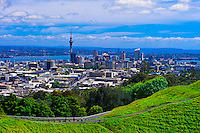 View of the skyline of Auckland, New Zealand (from Mt. Eden), featuring the Sky Tower, the tallest free-standing structure in the Southern Hemisphere.
