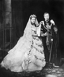 File photo dated 10/03/1863 of Edward, Prince of Wales (later King Edward VII), and his bride, Princess Alexandra of Denmark, after their wedding at Windsor castle as Princess Eugenie and fiance Jack Brooksbank are following in the footsteps of the Duke and Duchess of Sussex, Earl of Wessex and the QueenÕs eldest grandson Peter Phillips by marrying in St GeorgeÕs Chapel.