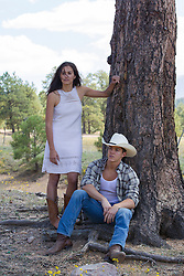 cowboy and a girl outdoors in New Mexico