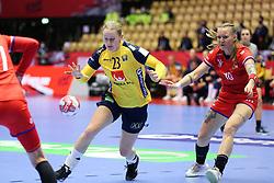 HERNING, DENMARK - DECEMBER 3, 2020: Emma Lindqvist (23) of Swedenduring the EHF Euro 2020 Group C match between Sweden and Czech Republic in Jyske Bank Boxen, Herning, Denmark on December 3 2020. Photo Credit: Allan Jensen/EVENTMEDIA.
