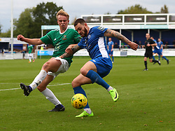 October 7, 2017 - Billericay, England, United Kingdom - Louie Theophanous of Billericay Town beats Jake Eggleton of Hendon FC .during Bostik League Premier Division match between Billericay Town against Hendon FC at New Lodge Ground, Billericay on 07 Oct 2017  (Credit Image: © Kieran Galvin/NurPhoto via ZUMA Press)