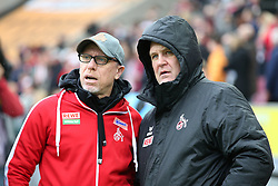 COLOGNE, March 19, 2017  Coach Peter Stoeger (L) and Sport Director Joerg Schmadtke of 1. FC Koeln look on prior to the Bundesliga match between 1. FC Koeln and Hertha BSC at RheinEnergieStadion in Cologne, Germany, on March 18, 2017. 1. FC Koeln won the match 4-2. (Credit Image: © Ulrich Hufnagel/Xinhua via ZUMA Wire)