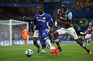 Ngolo Kante of Chelsea in action with Cheikhou Kouyate of West Ham United  marking. Premier league match, Chelsea v West Ham United at Stamford Bridge in London on Monday 15th August 2016.<br /> pic by John Patrick Fletcher, Andrew Orchard sports photography.