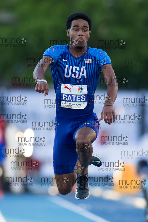 Toronto, ON -- 10 August 2018: Keandre Bates (USA) triple jump at the 2018 North America, Central America, and Caribbean Athletics Association (NACAC) Track and Field Championships held at Varsity Stadium, Toronto, Canada. (Photo by Sean Burges / Mundo Sport Images).