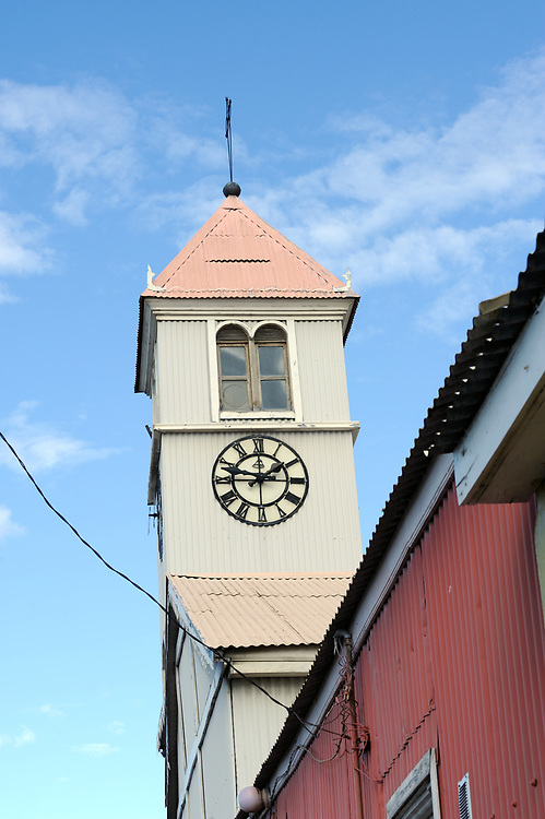 The corrugated iron covered tower of the old Catholic  Parish Church of Ushuaia. It was built in 1898 and is now a  National Historic Monument. Ushuaia, Republic of Argentina. 12Feb16
