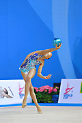 """Agiurgiuculese Alexandra during ball routine at the International Tournament of rhythmic gymnastics """"Città di Pesaro"""", 03 April,2016. Alexandra is an Italian individualistic gymnast, of Romanian origins, born in Lasi, 15 January, 2001.<br /> This tournament dedicated to the youngest athletes is at the same time of the World Cup.p."""