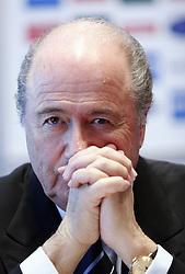 09-02-2005 SLO: FIFA President Joseph S. Blatter, Ljubljana<br /> Joseph S. Blatter, president of FIFA, at press conference when visiting Slovenia<br /> *****NETHERLANDS ONLY*****