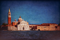 """""""View from the Grand Canal of the church of San Giorgio Maggiore in Venice""""…<br /> <br /> The first church on the island was built about 790, and in 982 the island was given to the Benedictine order by the Doge Tribuno Memmo. The Benedictines founded a monastery there, but in 1223 all the buildings on the island were destroyed by an earthquake. Andrea Palladio, an Italian Renaissance architect active in the Venetian Republic was commissioned for the rebuild. Palladio, influenced by Roman and Greek architecture, is widely considered to be one of the most influential individuals in the history of architecture, began the rebuild in 1560 and made dramatic improvements. The campanile was rebuilt in neo-classic style and completed in 1791. It was ascended by ramps and now an elevator to the top for panoramic views of Venice. The facade is brilliantly white and represents Palladio's solution to the difficulty of adapting a classical temple facade to the form of the Catholic Basilica. Two very large paintings by Tintoretto relate to the institution of the Eucharist and are located on either side of the presbytery, where they can be seen from the altar rail. """"The Last Supper"""" and """"The Jews in the Desert"""" (collecting and eating the manna, a gift of God to the Israelites in the Desert after they escaped Egypt, which foretells the gift of the Eucharist). Claude Monet painted a series of paintings of the island Monastery of San Giorgio Maggiore in 1908 during the artist's only visit to the city. One of the best known is """"San Giorgio Maggiore at Dusk"""", which exists in two versions. Monet completed his paintings of Venice at home in France and in 1912 showed them in Paris. Buyers included the Welsh collector Gwendoline Davies, who bought three paintings. This vision of the Church of San Giorgio is iconic and famous worldwide. My image capture while upon an evening boat excursion appears theatrical as if the majestic church is posing for yet another Venetian canvas."""