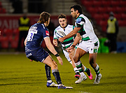 Newcastle Falcons centre Matias Orlando offloads to  wing Ben Stevenson during a Gallagher Premiership Round 12 Rugby Union match, Friday, Mar 05, 2021, in Eccles, United Kingdom. (Steve Flynn/Image of Sport)