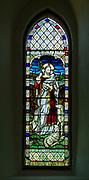 Church of Saint Peter, Bruisyard, Suffolk, England, UK stained glass window Good Shepherd c 1911 Jones and Willis