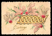 Embossed Christmas card with cut-out design of interlocking gold rings, surrounded by pink cyclamens on the front. The cyclamens are outlined in traces of glitter. Greetings. Remembrance. Reason's whole pleasure, / All the joy of sense,/ Lie in three words / Health, Peace, and Competence / Pope.