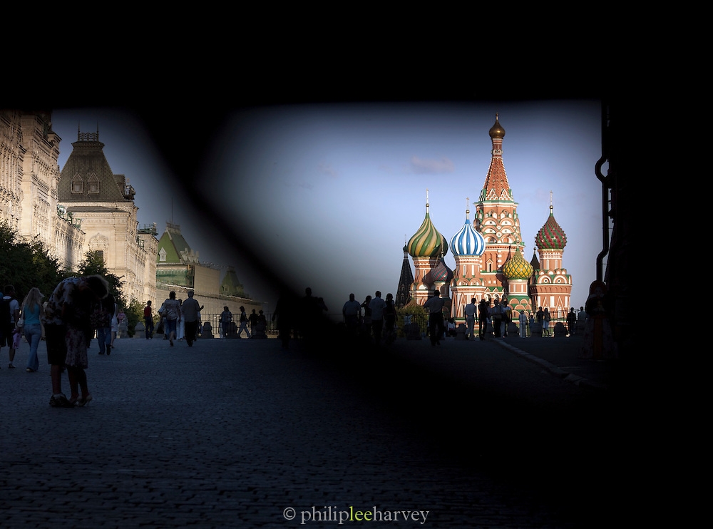 Tourists at St. Basil's Cathedral, Red Square, Moscow, Russia