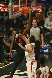 December 17, 2018 - Los Angeles, CA, U.S. - LOS ANGELES, CA - DECEMBER 17: Portland Trail Blazers Forward Maurice Harkless (4) dunking during the Portland Trail Blazers at Los Angeles Clippers NBA game on December 17, 2018 at Staples Center in Los Angeles, CA.. (Photo by Jevone Moore/Icon Sportswire) (Credit Image: © Jevone Moore/Icon SMI via ZUMA Press)