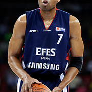 Efes Pilsen's Charles SMITH during their Turkish Basketball league Play Off Final third leg match Fenerbahce Ulker between Efes Pilsen at the Abdi Ipekci Arena in Istanbul Turkey on Tuesday 25 May 2010. Photo by Aykut AKICI/TURKPIX