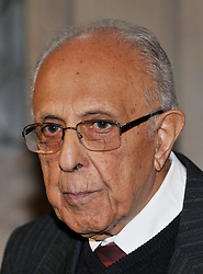 """Ahmed """"Kathy"""" Kathrada who was sentenced to life imprisonment on Robben Island alongside Nelson Mandela, after receiving the Freedom of the City of London award together with fellow prisoner, Denis Goldberg and Lord Joel Joffe and George Bizos from their defence team, in recognition of their fight for freedom and racial equality at Guildhall's Livery Hall, in central London."""