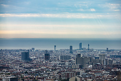 October 3, 2017 - Barcelona, Spain - General view of Barcelona during the protests and demonstrations in Barcelona during the general strike to condemn the Spanish Guardia Civil police violence to stop the Referendum of 1st of October, in Barcelona on October 3 of 2017. (Credit Image: © Xavier Bonilla/NurPhoto via ZUMA Press)