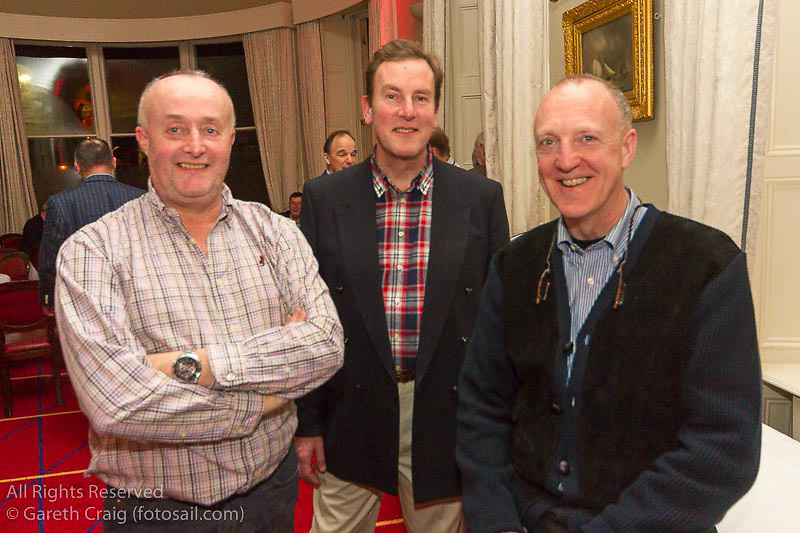 (l to r) Mark Fagan, Justin Maguire, and Jonathan Carroll at the reunion night to celebrate 50 years of the Irish Fireball Class, held at the Royal St George YC.