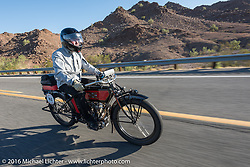 William Story riding his 1913 Excelsior as he leaves Lake Havasu City during the Motorcycle Cannonball Race of the Century. Stage-14 ride from Lake Havasu CIty, AZ to Palm Desert, CA. USA. Saturday September 24, 2016. Photography ©2016 Michael Lichter.