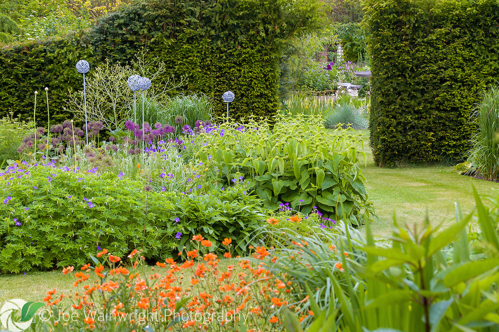 A gap in a hedge provides a tantalising view of the rest of Bluebell Cottage Gardens, Cheshire - photographed in May . This image is available for sale for editorial purposes, please contact me for more information.