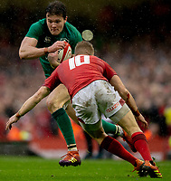 Ireland's Jacob Stockdale in action during todays match<br /> <br /> Photographer Bob Bradford/CameraSport<br /> <br /> Guinness Six Nations Championship - Wales v Ireland - Saturday 16th March 2019 - Principality Stadium - Cardiff<br /> <br /> World Copyright © 2019 CameraSport. All rights reserved. 43 Linden Ave. Countesthorpe. Leicester. England. LE8 5PG - Tel: +44 (0) 116 277 4147 - admin@camerasport.com - www.camerasport.com